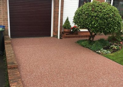 Red resin paving driveway - after